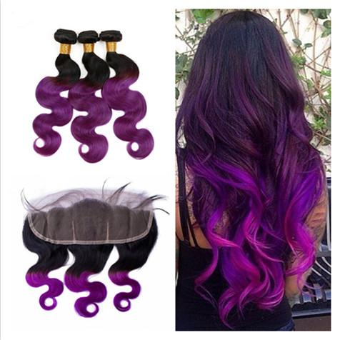 1B / Purple Ombre Cabello humano peruano con Body Wave 13x4 Cierre frontal de encaje 4Pcs Lot 9A Virgin Peruvian Two Tone 3Bundles con frontales
