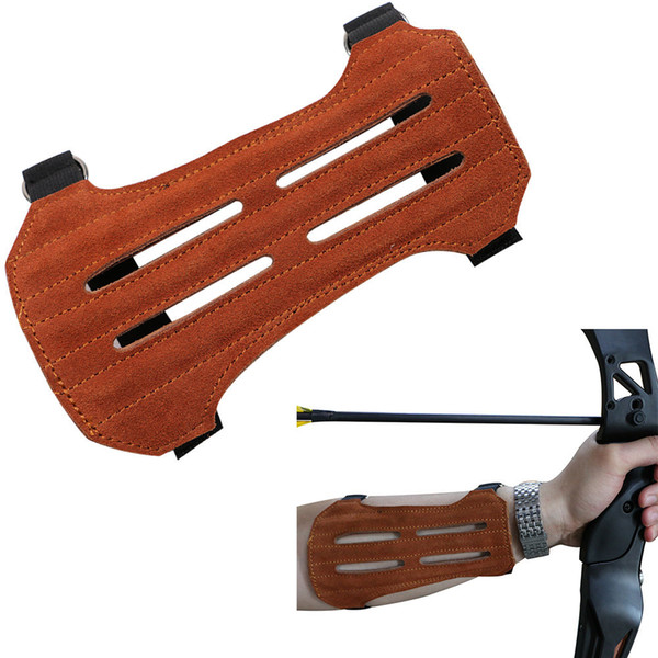 Brown Archery Arm Guard Faux Suede Protector Adjustable 2 Strap Safe Hunting Arm Guard Bow and Arrow Accessories