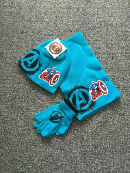 enfants dessin animé crochet mitaines pour garçons hiver coton gants chapeaux bonnets tricotés ensemble 3pcs accessoires d'hiver en gros pas cher prix vêtements