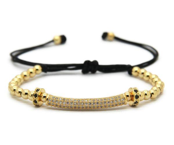 2016 nuovi gioielli di design all'ingrosso 4mm 18kt perle tonde con zirconi cubici intrecciati braccialetti macrame CZ