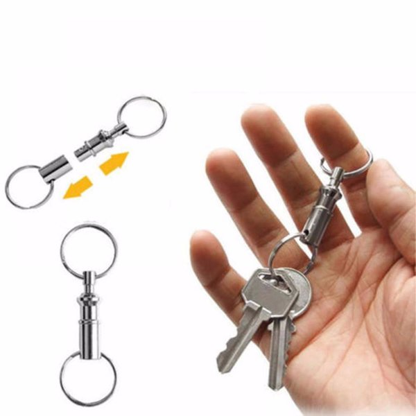 best selling Outdoor Dual Detachable Key Ring Pull Apart Quick Release Keychain Keyfob Split Snap Lock Holder Steel Removable Key Chain
