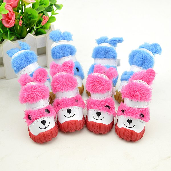 New Cheap Autumn Winter Small Medium Pet Plush Shoe Rubber Sole Lovely Warm Shoes With Rabbit Pattern for Pets Hot Sale