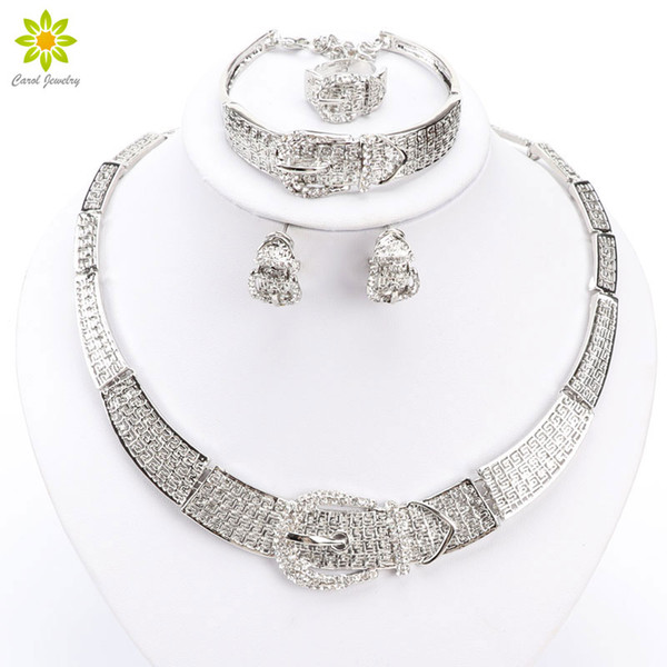 Women Silver/Gold Plated Dubai African White CZ Diamond Austrian Crystal Necklace Bracelet Earring Ring Wedding Jewelry Set