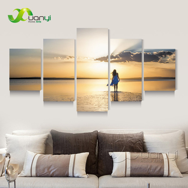 5 Panel Seascape Sunset Canvas Painting Sexy Beauty Canvas Art Home Wall Picture For Living Room Modern Printing Unframed PR1271