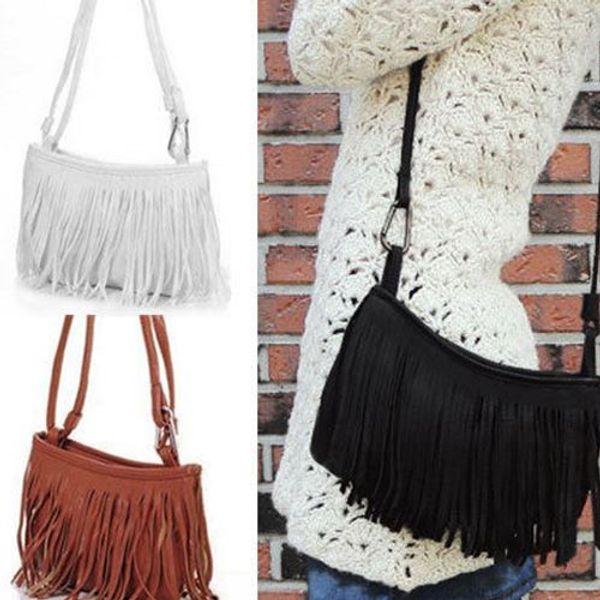 2016 Hot Sales Fashion Women tassels Fringe Faux Suede Shoulder Messenger Cross body Bag Handbag Purse PU Leather (Bx7) Free Shipping