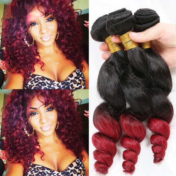 Dark Root 1B Red Loose Wave Ombre Hair Extension Double Wefted 9A Brazilian Loose Curly Ombre Hair Bundles For Black Woman
