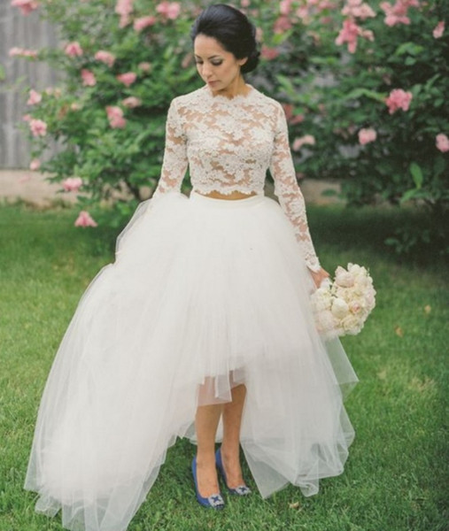 Two Pieces Wedding Dress Long Sleeve Illusion Sheer Lace Crop Short Front Back Bridal Gowns