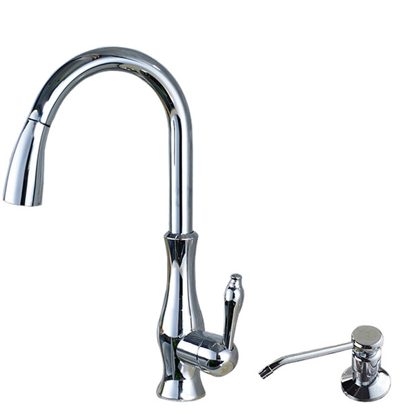 Bright Chrome Pull Out Kitchen Faucet Deck Mounted Single Handle with Hot and Cold Water Mixer Taps Stainless Steel Soap Dispenser