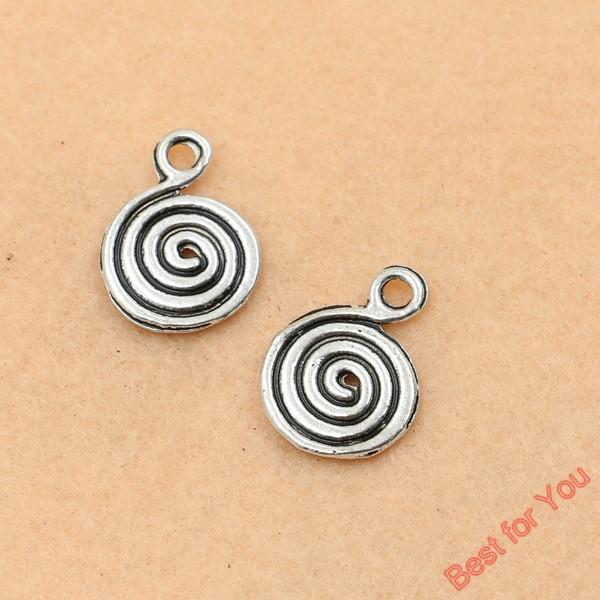 100pcs tibetischen Silberton Windung Spirale Charms Anhänger für die Schmuckherstellung Handwerk 13x18mm Schmuckherstellung