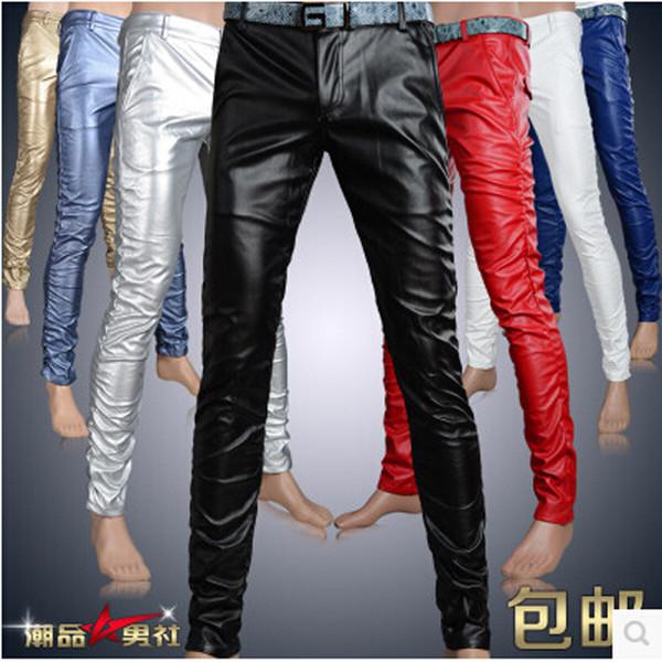 Toptan-6 Renkler Deri Pantolon Erkekler 2016 Erkek Pantolon Deri Moda Yüksek Kalite Sıska Motosiklet Mens Faux Deri Pantolon