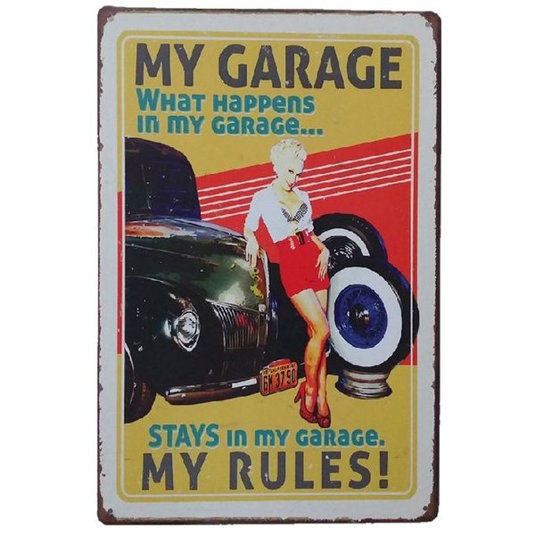 My Garage My Rules Stay in my garage Retro rustic tin metal sign Wall Decor Vintage Tin Poster Cafe Shop Bar home decor