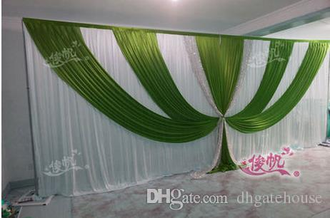 Shiny Sequnis Wedding Swag wedding stage backdrops curtain decoration romantic Green with white wedding curtain with swags