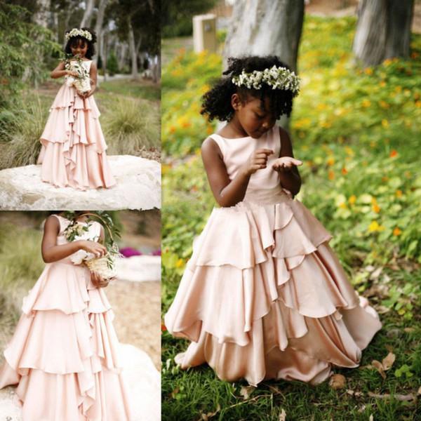 New Pretty Blush Pink Blumenmädchenkleider für Hochzeiten Country Style Kids Tutu Erstkommunion Brautkleid