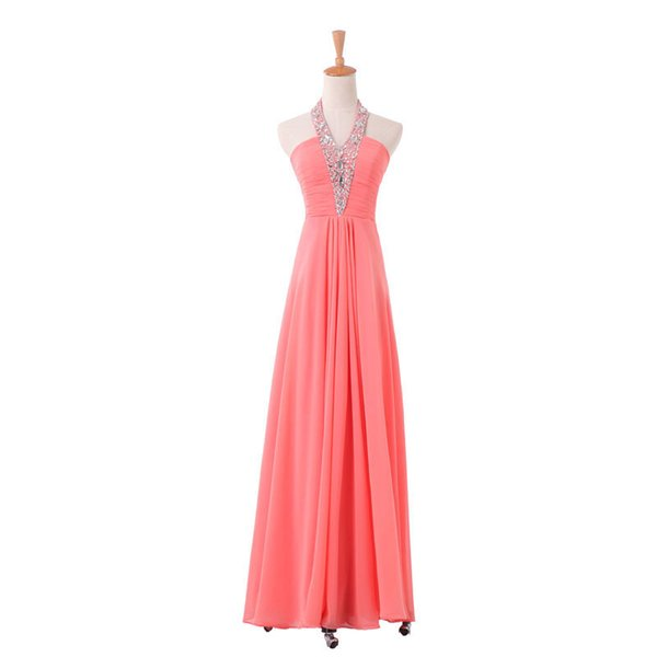Halter Neck Sequined Hot Selling European Style Evening Dress Zip Back Long Length Women Banquet Gown