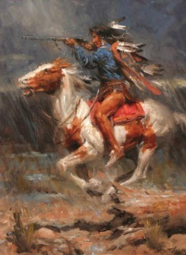 Framed INDIANS ON HORSE,Pure Handpainted Portrait Art Oil Painting On High Quality Canvas Multi Sizes Free Shipping