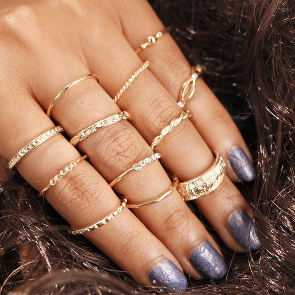best selling 2017 Hot Sleeve Diamond Set Rings, Combination Wrapping Knotted Line Carved Pattern 12pcs Rings wholesale