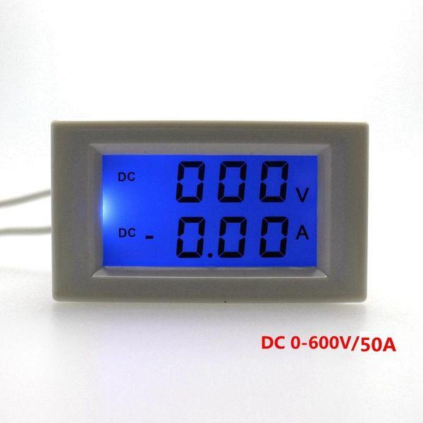 Toptan-DC 0-600 V / 50.0A Dijital çift ekran ampermetre voltmetre DC Gerilim Akım Ölçer Güç kaynağı DC 3-40 V Mavi Aydınlatmalı