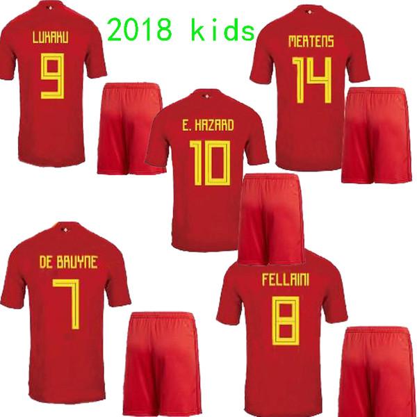 newest 25687 39824 2019 2018 E.HAZARD Kids Kits Belgium Soccer Jersey 17 18 LUKAKU Home Red  FELLAINI KOMPANY DE BRUYNE Children Belgium Football Shirt From Top_jersey,  ...