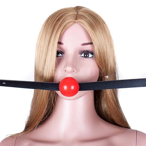 1pcs Harness Gag Bondage Head Harness with Red soft ordinary silica gel mouth ball plug 4.2CM ball