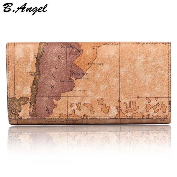 Monedero monedero con patrón de mapa de cuero largo a prueba de agua para mujeres y hombres Cerrojo de estilo de viaje en monedero de cartera de embrague (marrón blanco)