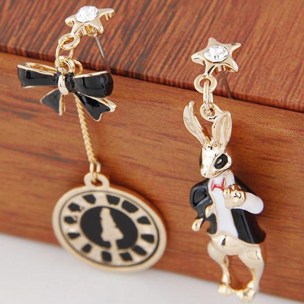 Summer Sale Fashion Accessories Rabbits Bowknot Circle Clocks Pendants Handmade Statement Irregular Asymmetry Drop Dangle Earrings For Women