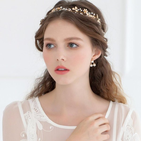 Gold Crystal Bridal Hair Accessories Small Flower Hair Clips Hair Accessories Headbands Acessorio Para Cabelo Wholesale Hair Accessories