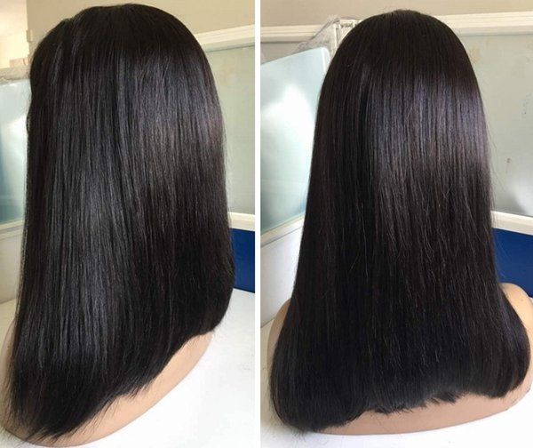 Hot Selling Glueless Full Lace Wig Silky Straight Virgin Malaysian Human Hair Bob Ombre Lace Front Wig Free Shipping
