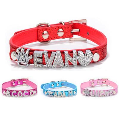 Dog Collar PU Leather DIY Design Crown Pattern Decoration Pet Dogs Neck Collar ( Price Exclude Letters)