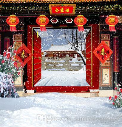 Chinese Gate Red Lantern Outdoor Backgrounds for Photo Studio Props 5X7ft Vinyl Wedding Children Photography Backdrops