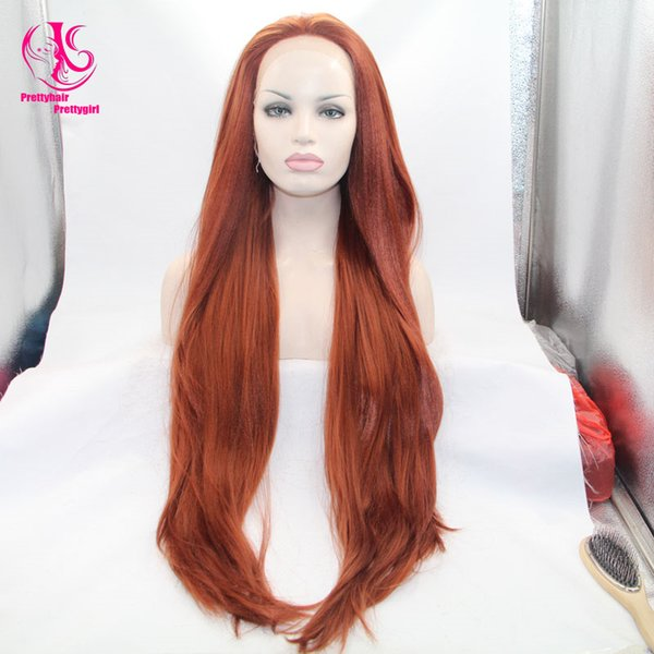 Natural look premium auburn wigs long yaki straight wig synthetic lace front wig heat resistant Synthetic Hair in stock for black woman