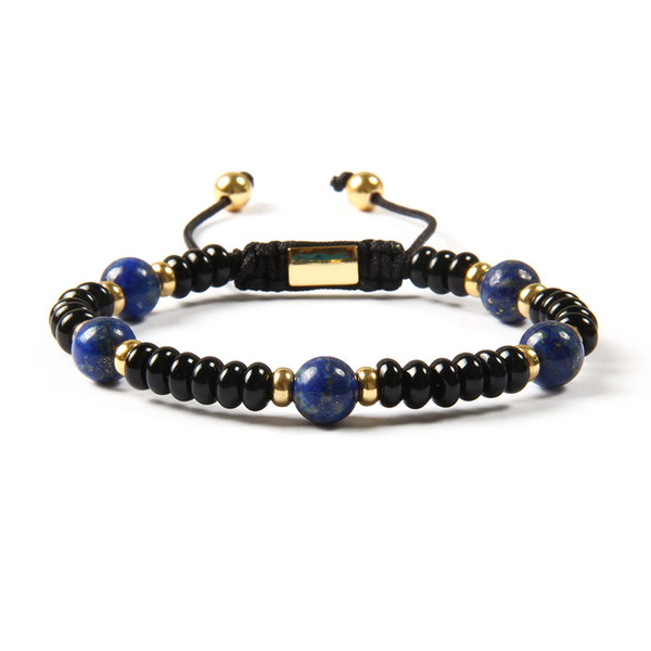 Wholesale Fashion Jewelry New Arrival 4x6mm Natural Flat Black Onyx Stone with 8mm Lapis Stone Macrame Bracelet For Gift