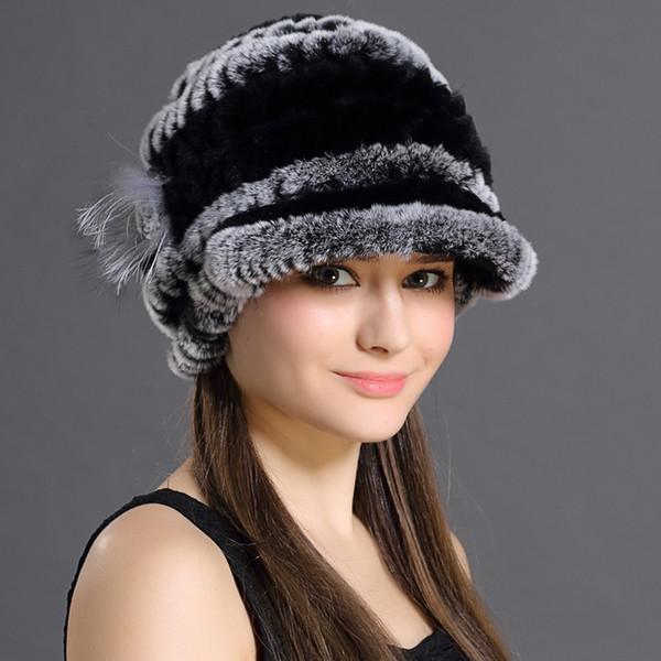 Women Genuine Fur Hats Caps Knitting Rex Rabbit Fur Russian Hat Free Shipping Natural Stripe Fur Hats Lady Winter Warm Beanies