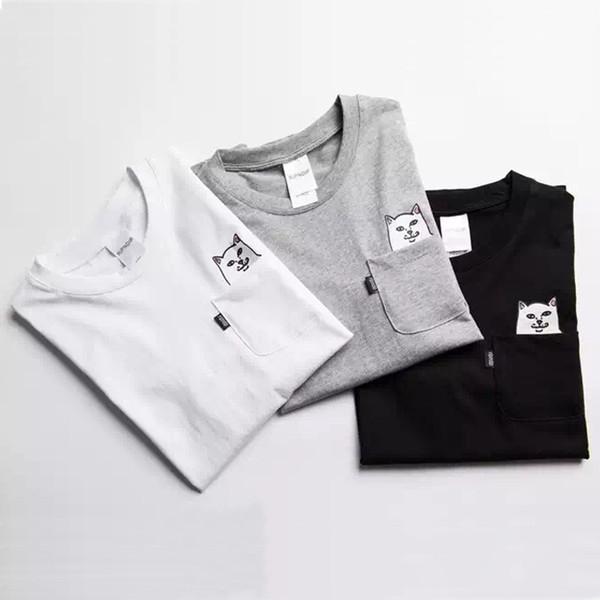 RipNDip Lord Nermal Pocket Tee Shirts Men Cat Graphic Print Funny T shirts White Black Grey Short Sleeve Cotton Tee Streetwear Men YBF0914