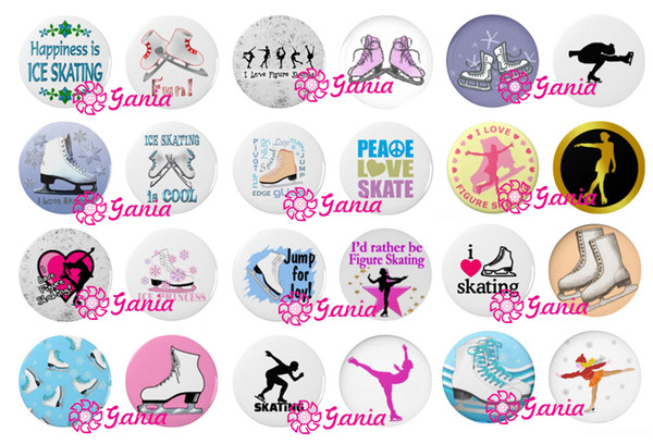 top popular New Arrival DIY 18mm Cabochon Glass Stone Buttons Winter Ice Skate Skater Snaps for 18mm Snap Jewelry Bracelet Necklace Ring Earrings 2021