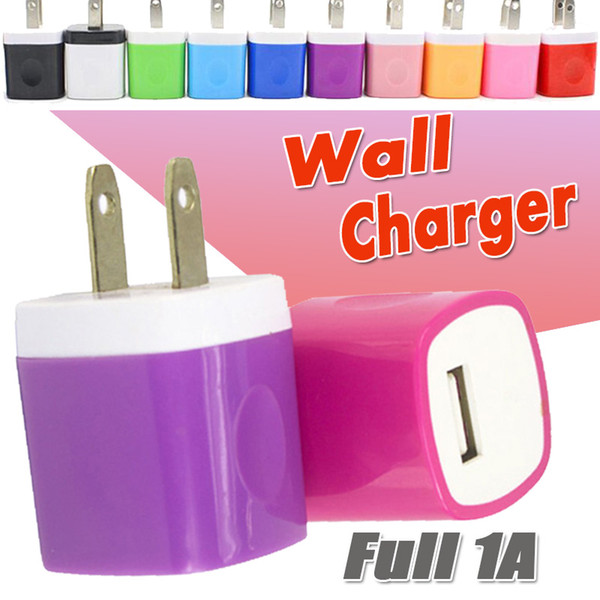 Wall Charger Travel Charging Adapter 5V/1A Colorful Home US Plug USB Power Charger For iPhone XS Plus X 8 7 6 Samsung Galaxy Note 9 S9 Nokia