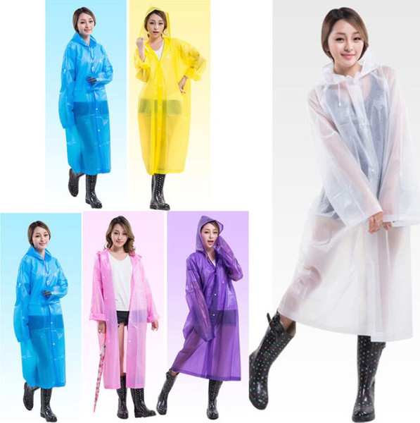 Fashion Women EVA Transparent Raincoat Poncho Portable Environmental Light Raincoat Long Use Rain Coat Hogard Free Shipping