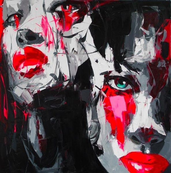 Free Shipping Modern Art Wall Hand painted Palette knife painting portrait Palette knife Francoise Nielly Man Face Oil painting on canvas