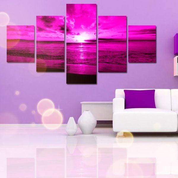 Five Parts Purple Sea Sunset Decorative Painting Living Room Bedroom ...