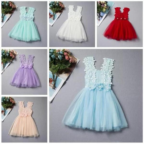 Summer Baby Girls Lace Dress Kids Sundress Gauze Jumper Skirt Europe American Children Crochet Vest Dress 6 style