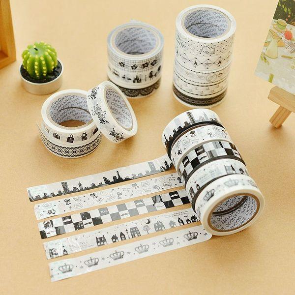 10 pcs/Lot Black & white cartoon tape DIY lace deco adhesive tapes Scrapbooking tools Kawaii stationery school supplies 6454