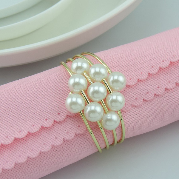 Pearls Metal Napkin Rings Serviette Holder Hotel Restaurant Wedding Supplies Table Decoration Accessories Wholesale Free Shipping ZA4424