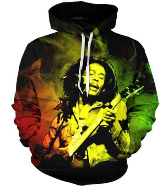 Новая мода пары Мужчины Женщины унисекс Боб Марли 3D печати толстовки свитер толстовка куртка пуловер топ T76
