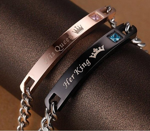 best selling 1 Pair Stainless Steel His Queen Her King Bracelet Matching Set Titanium Wristband Couple Bracelet 2 Pieces