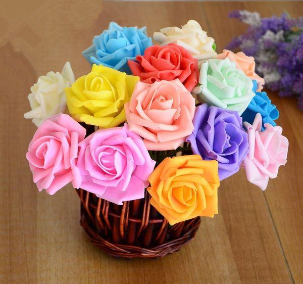 15% off! 300pcs/ Foam Rose Flower Head Artificial Rose Flowers Bouquet Handmade Wedding Home Decoration Festive & Party scrapbook 17 colors