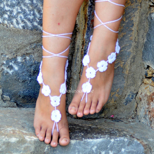White Floral Barefoot Sandals, Wedding Barefoot, Crochet Sandles, Nude Shoes, Foot Decoration, Yoga, Foot Jewelry, Foot thongs