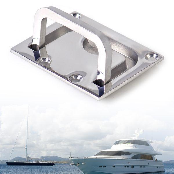 Wholesale- New Car 316 Stainless Steel Boat Marine Flush Hatch Locker Cabinet Lift Pull Handle Boat Hatch Handle 7.5 x 5.5 cm Flush Mount