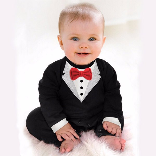 Wholesale- 2016 Gentleman Baby Boy Clothes White Coat Rompers ...