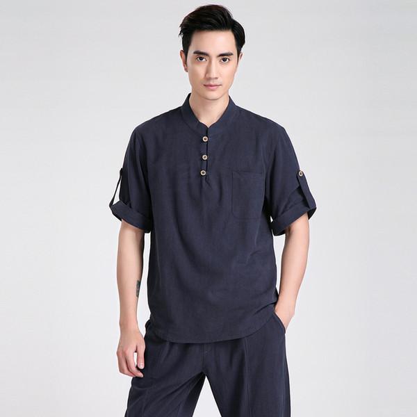 Atacado-Verão Novos Homens Chineses de Manga Curta Lazer Casuais Camisa de Algodão de Linho Kung Fu Camisa Tai Chi Roupas S M L XL XXL XXXL 2606