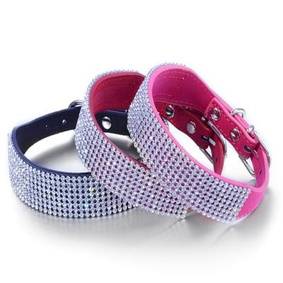 3 Colors Exquisite Diamond Dog PU Leather Collar Alloy Button Pet Puppy Rhinestone Necklace S M