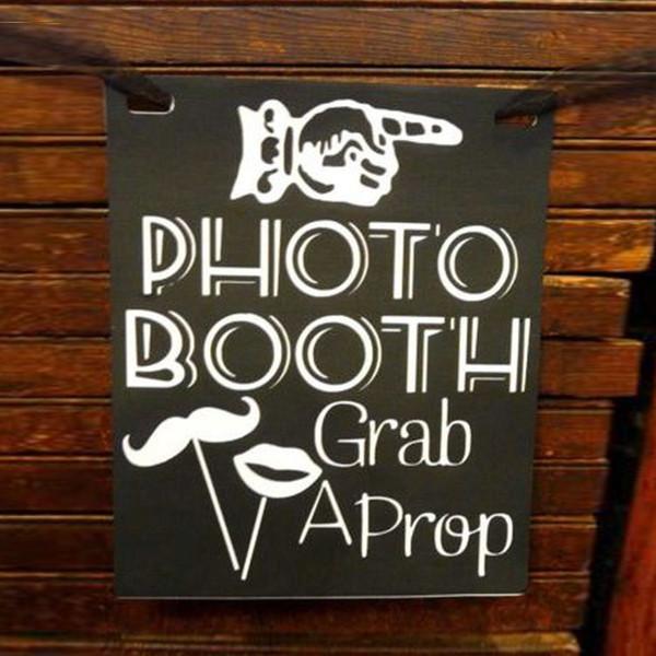 Kostenloser Versand Vintage Affäre Photo Booth Tafel Holzschild Hochzeit Dekoration